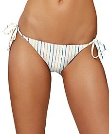 Juniors' Bridget Stripe Side-Tie Cheeky Bikini Bottoms