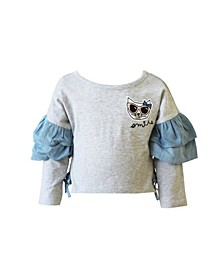 Toddler, Little and Big Girls Long Sleeve Ruffle Tee