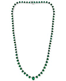 "EFFY® Emerald (18-1/2 ct. t.w.) & Diamond (1-1/3 ct. t.w.)  16"" Statement Necklace in 14k White Gold"