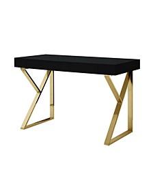 Zosia High Gloss Desk with Polished Metal Base