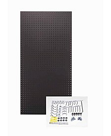 Tempered Wood Pegboard Custom Painted Twilight Black Heavy Duty Tempered Round Hole Pegboards with 36 Piece Locking Hook Assortment