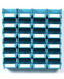 Locbin 26 Piece Wall Storage Unit with Interlocking Bins, 24 Count, Wall Mount Rails with Hardware, 2 Pack