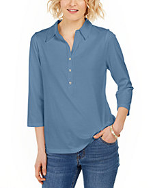 Charter Club Supima® Cotton 3/4-Sleeve Polo, In Regular and Petite, Created for Macy's