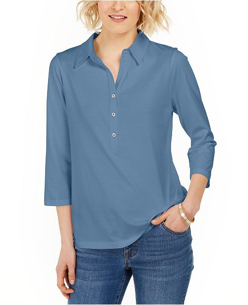 Charter Club Petite Supima® Cotton 3/4-Sleeve Polo, Created for Macy's