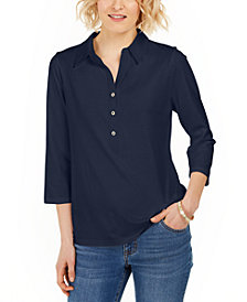 Charter Club Supima® Cotton 3/4-Sleeve Polo, Created for Macy's