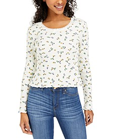 Juniors' Lace-Trim Floral-Print Thermal Top