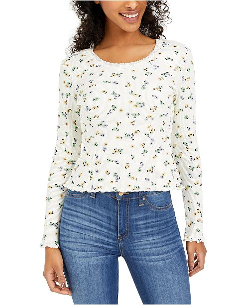 Polly & Esther Juniors' Lace-Trim Floral-Print Thermal Top