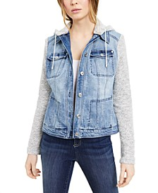 INC Layered-Look Denim Hoodie Jacket, Created for Macy's