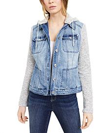 INC Layered-Look Denim Hoodie Jacket, Created For Macy's