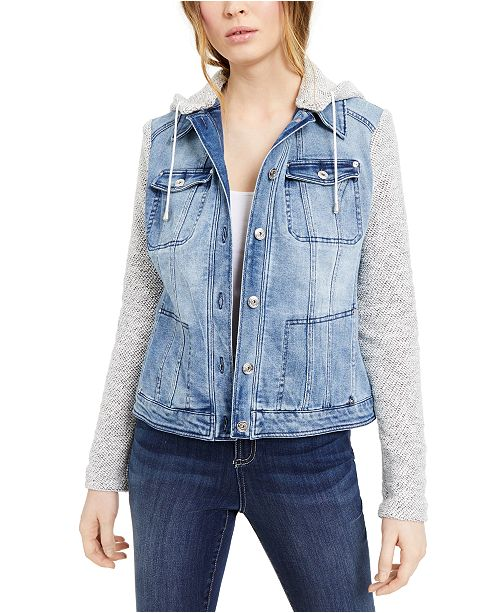 INC International Concepts INC Layered-Look Denim Hoodie Jacket, Created For Macy's