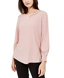 Petite Cut-Out Blouse, Created For Macy's