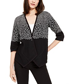 Petite Printed Asymmetric Open-Front Cardigan, Created for Macy's