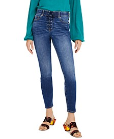 INC Lace-Up Pull-On Skinny Jeans, Created for Macy's