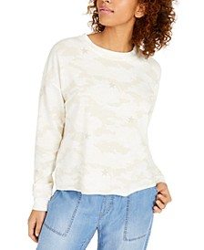 Juniors' Printed Lace-Up Sweatshirt