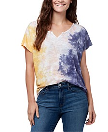 Tie-Dye Split-Neck T-Shirt