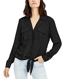INC Petite Tie-Front Utility Shirt, Created for Macy's