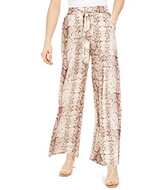 Snakeskin-Print Wide-Leg Pants, Created for Macy's