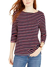 Contrast-Trim Striped Top