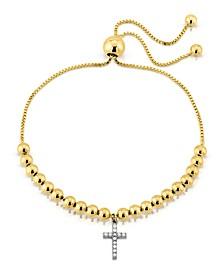 Brilliant Bubbles Diamond 1/10 ct. t.w. Cross Charm Bolo Bracelet Designed in Sterling Silver