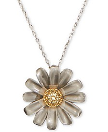 "Two-Tone Pavé Flower Pendant Necklace, 17"" + 3"" extender"