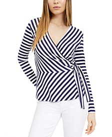 Striped Wrap Knit Top, Created For Macy's