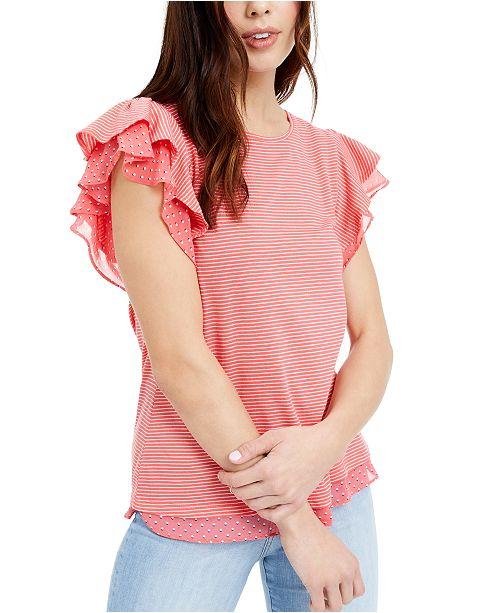 Maison Jules Mini-Stripe Flutter-Sleeve Knit Top, Created for Macy's
