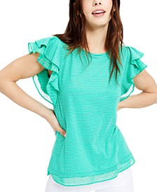 Mini-Stripe Flutter-Sleeve Knit Top, Created for Macy's