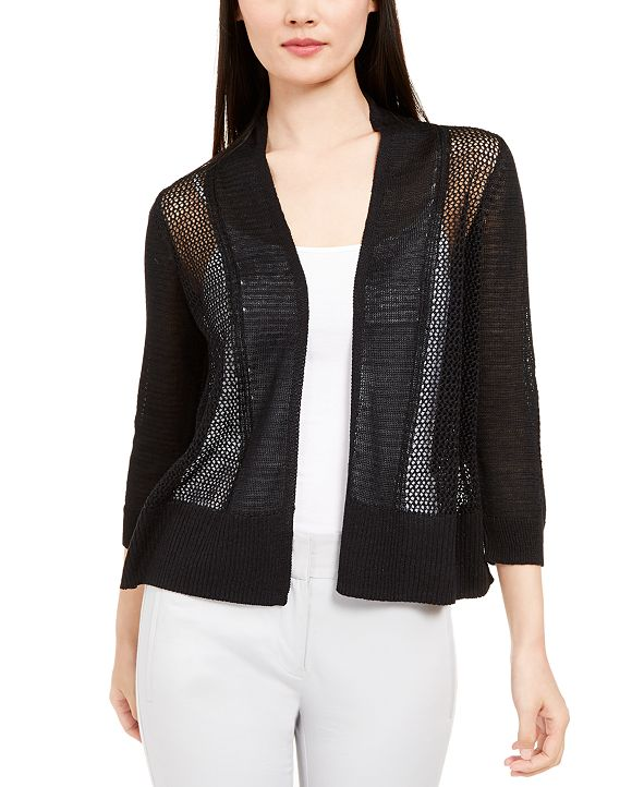 Alfani Mixed-Stitch Open-Front Linen-Blend Cardigan, Created for Macy's