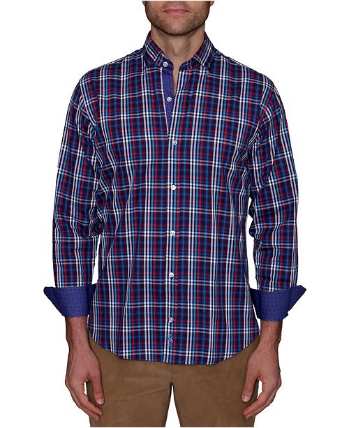 TailorByrd Men's Big and Tall Grid Plaid Button-Down Shirt