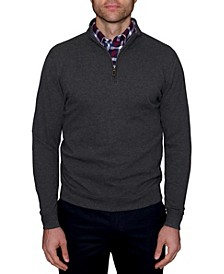 Men's Big and Tall Popcorn Textured Quarter-Zip Sweater