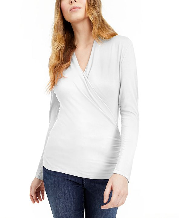 INC International Concepts INC Surplice-Front Top, Created for Macy's