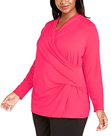 Plus Size Faux-Wrap Top, Created For Macy's