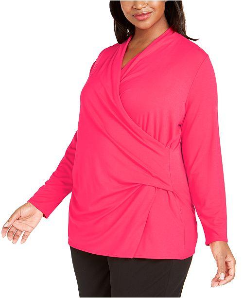 Alfani Plus Size Faux-Wrap Top, Created for Macy's