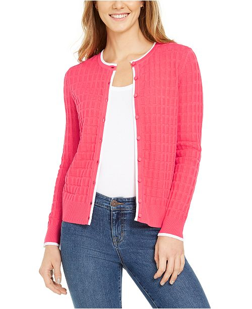 Charter Club Textured Button-Down Cardigan Sweater, Created for Macy's