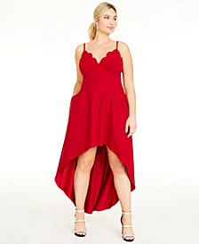 Trendy Plus Size Scalloped High-Low Dress