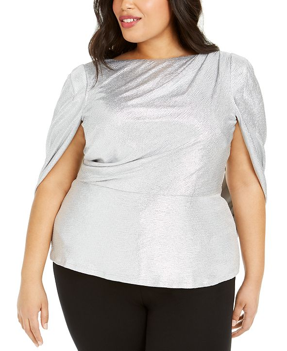 Adrianna Papell Plus Size Metallic Cape-Back Top