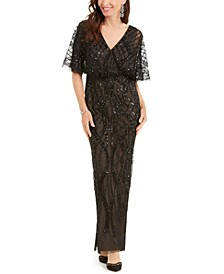 Embellished Dolman-Sleeve Gown