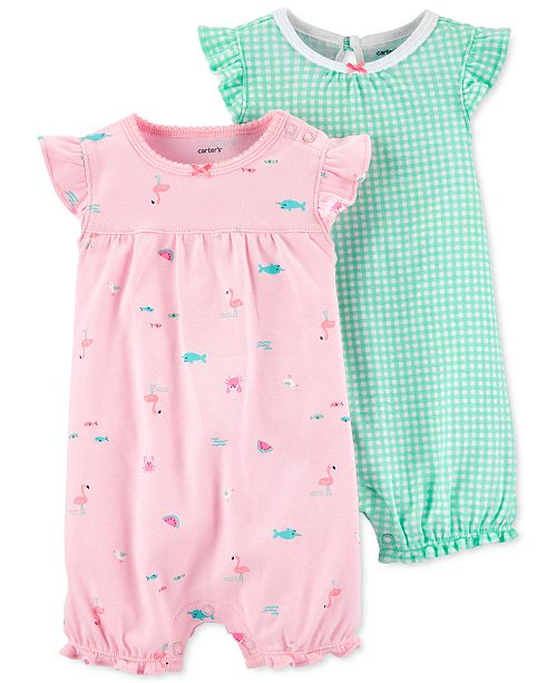 Carter's Baby Girls 2-Pk. Printed Cotton Rompers