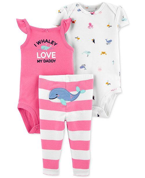 Carter's Baby Girls 3-Pc. Cotton Whale Bodysuits & Striped Pants Set