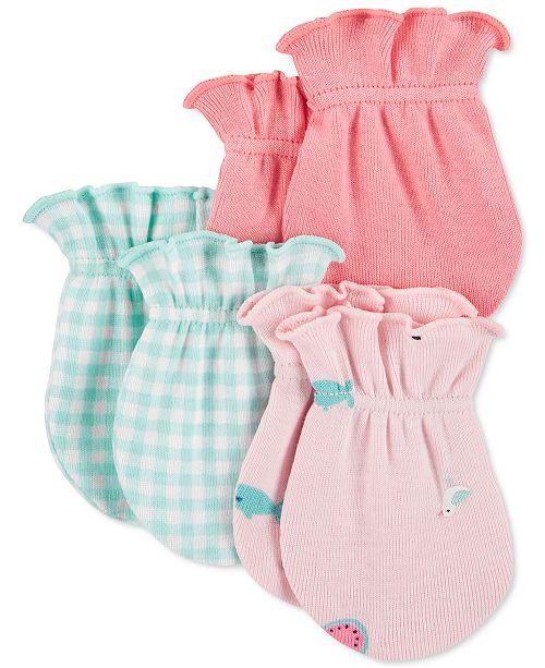 Carter's Baby Girls 3-Pk. Cotton Mittens