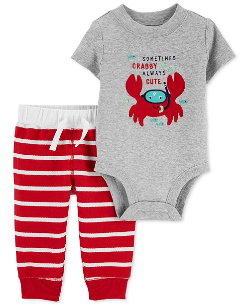 Carter's Baby Boys 2-Pc. Cotton Crabby Bodysuit & French Terry Pants Set