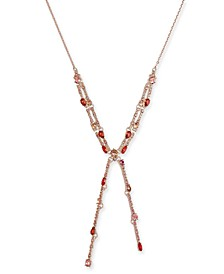 "INC Rose Gold-Tone Multi-Crystal Lariat Necklace, 17"" + 3"" extender, Created for Macy's"