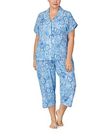 Plus Size Short Sleeve Top & Capri Pajama Set