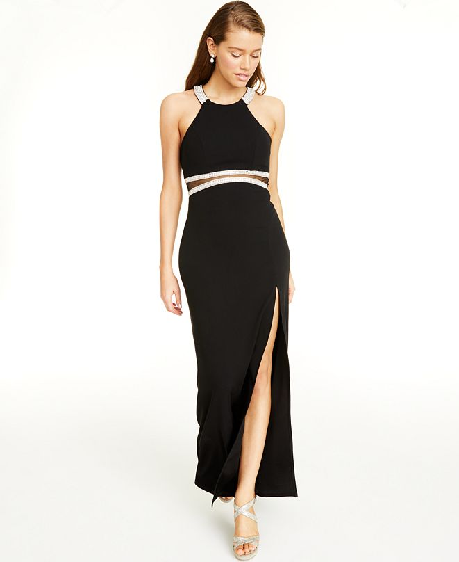 Sequin Hearts Juniors' Illusion-Waist Halter Gown, Created for Macy's