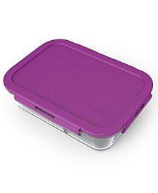 Large Divided Glass Food Storage Container, Purple