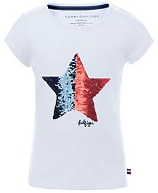 Little Girls Cotton Flip Sequin Star T-Shirt