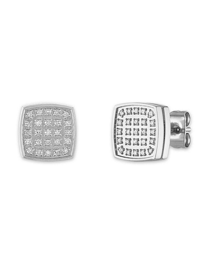 Macy's - Men's 1/4 Carat Diamond Stud Earrings in Stainless Steel