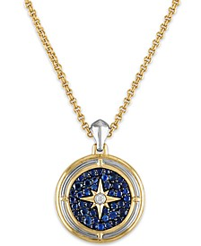 "Men's 2-3/8 Carat Sapphire and Diamond Accent Pendant  22"" Chain in 14k gold over sterling silver"