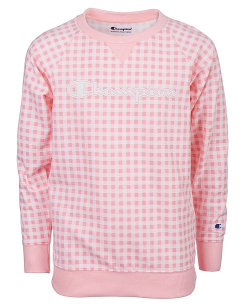 Champion Big Girls Gingham French Terry Sweatshirt