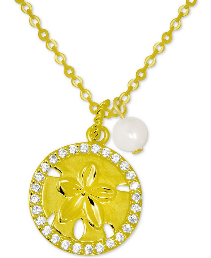 Kona Bay - Crystal Starfish & Freshwater Pearl (6mm) Pendant Necklace in Gold-Plate